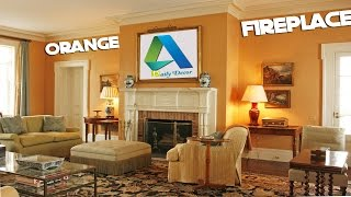 [Daily Decor] Orange Living Room Ideas with Fireplace