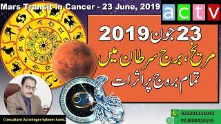Mars Transit In Cancer 22 June 2019   Horoscope   Vedic Astrology   Saleem Sami Astrology