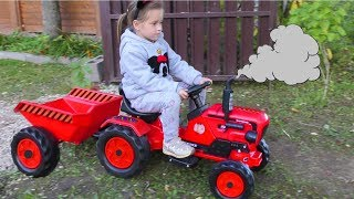 Funny Baby Unboxing And Assembling The POWER Wheel Ride on Tractor Excavator Kids car