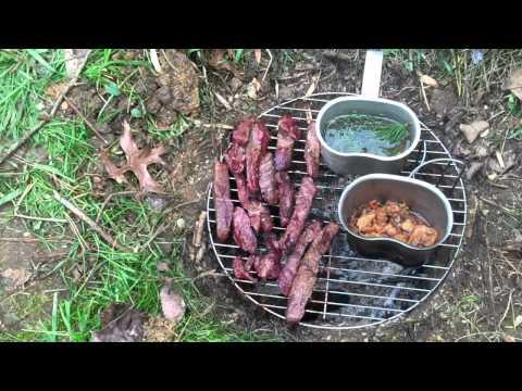 Venison Steak cooked on a Dakota fire pit
