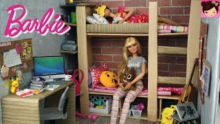Barbie Bunk Bed Dorm Room Morning Routine -  Barbie Doll House Toys for Kids