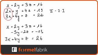 Gleichungssystem mit 3 Variablen (Nr. 3) Additionsverfahren
