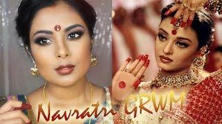 Chatty Indian GRWM | Navratri / Durga Puja Festive Makeup | Aishwarya Rai (Devdas) Bengali Bridal