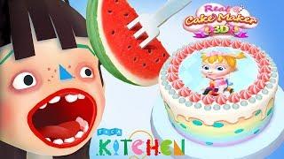 Toca Boca Kitchen Food Cooking Vs Real Cake Maker 3D Kids Cooking Games