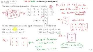 GATE 2012 ECE Find the condition for system controllability based on a1, a2 and a3 values