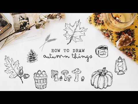 how to draw autumn things (+ free printable)