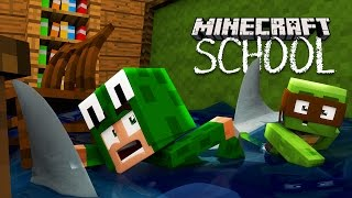 Minecraft School - THE SCHOOL GETS FLOODED WITH SHARKS!