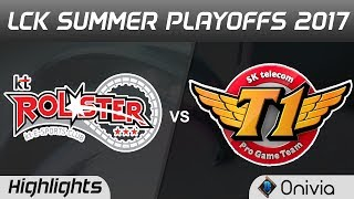 KT vs SKT Highlights Game 1 LCK PLAYOFFS 2017 Round 2 KT Rolster vs SK Telecom T1 by Onivia