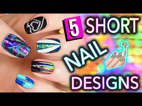 5 Easy Nail Art Designs for SHORT NAILS Holosexuals PART 2
