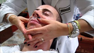 Straight Razor shave with hot towel and face massage - Old School Italian Barber - ASMR sounds