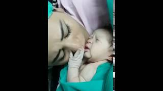 Mom's First Kiss Stops Her Just born Baby Crying