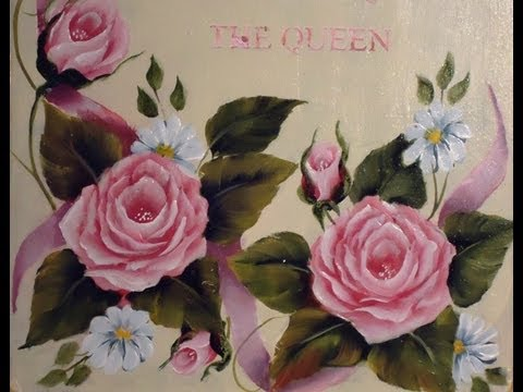 Como pintar en acrílico con técnica americana Cuadro de rosas vintage
