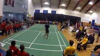 CCAA Badminton Championships MS Final Jesse Assing vs Owen Kurvits Game 1