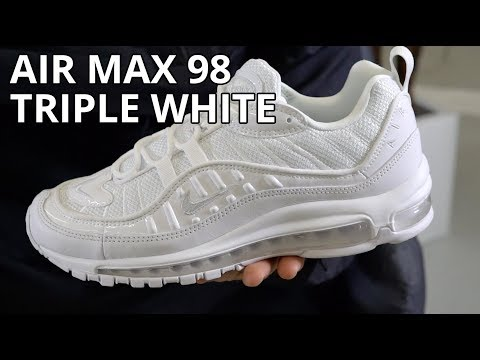 Nike Air Max 98 Triple White Review Unboxing On Feet Look