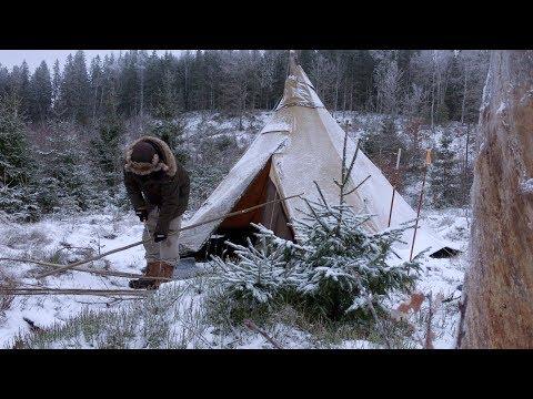 WINTER CAMPING BUSHCRAFT BASE CAMP Tipi Back Rest Canvas Hot Tent Nomad Woodstove Cooking