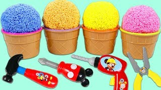 PLAY FOAM Surprise Toys Opening with Disney Mickey Mouse Tools and Surprise Slime Toys!