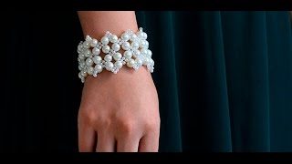 How to Make a Wide White Pearl Bead Stitch Bracelet
