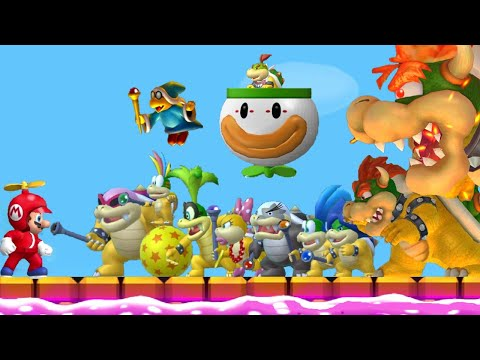 New Super Mario Bros. Wii All Boss Fights All Tower Castle & Airship Bosses Final Boss Ending