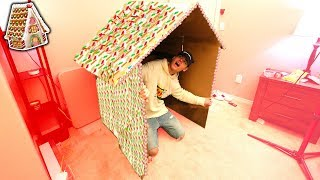 WORLDS BIGGEST GINGERBREAD HOUSE BOX FORT CHALLENGE! | David Vlas