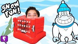 Biggest SNOW MONSTER Adventure! Surprise Toy HUNT + Slime Blob Attack Snowball Fight HobbyKidsTV