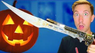5 Horror Video Game Weapons in REAL LIFE vs Fruit Ninja