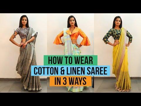 Xxx Mp4 How To Wear Linen Or Cotton Saree 3 Ways To Drape Saree 3gp Sex