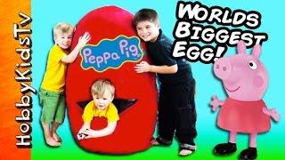 Worlds BIGGEST PEPPA PIG Surprise Egg! Toys Superman + HobbyPig Learning Fun HobbyKidsTV