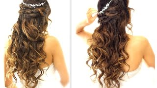 ★ EASY Wedding Half-Updo HAIRSTYLE with CURLS | Bridal Hairstyles for Long Medium Hair