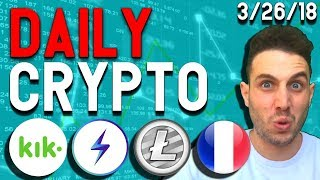 Daily Crypto News: Bitcoin Bearish, Kik $ETH and $XLM, Litepay, Lightning Network Apps, France ICOs
