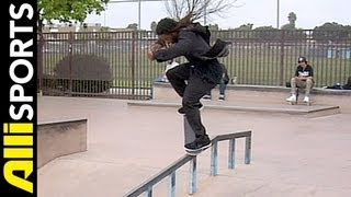 How To Crooked Grind Pop Over, Shuriken Shannon, Alli Sports Skateboard Step By Step Trick Tips