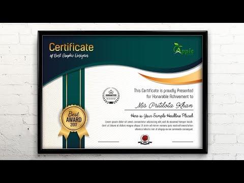 Certificate Template Design Photoshop CC Tutorial