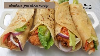 Tasty Chicken Wrap Recipe Chicken Paratha Roll Recipe,Afghani  Parata Recipe پراته با برگر مرغ