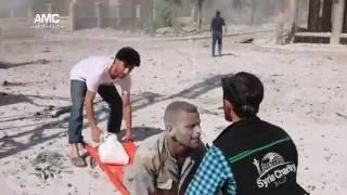 اللحظات الأولى للقصف الجوّي الذي استهدف حي الصالحين 19-7-2016