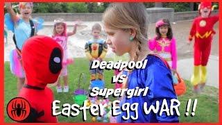 Little Heroes Kid Deadpool vs Supergirl Surprise Egg Hunt! Superheroes in Real Life | Superhero Kids