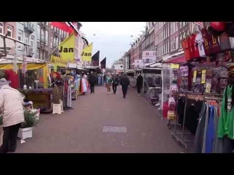 Walking Albert Cuyp street market Amsterdam