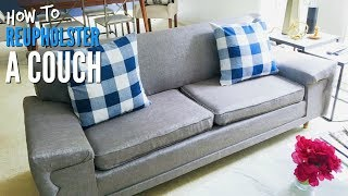DIY | How To Reupholster A Mid-Century Modern Couch | TUTORIAL!