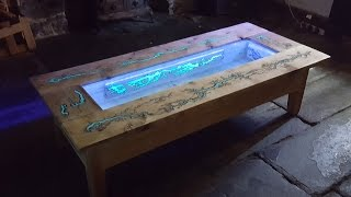 DIY Pallet Coffee Table - Glow in the dark wood projects with Lichtenberg Figure