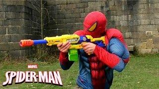 SNIPER SPIDERMAN Castle Adventure in BB Air Pellet Nerf Gun Serie, X-Shot Blaster Gun