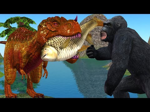 Angry Gorilla 3D Vs Dinosaur Fighting Animation Short Film | Cartoon Animals Funny Short Movie