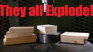Crushing Different Woods with Hydraulic Press