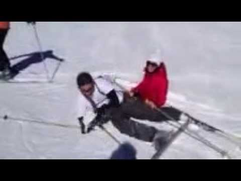 Wipeout skiing, he gets a spare!  Takes his wife out for his birthday, literally!  LOL so funny!