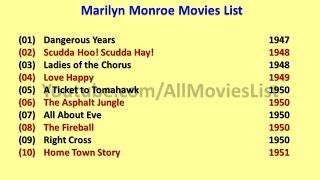 Marilyn Monroe Movies List