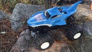 Monster Trucks. Сars for kids. Hot Wheels BIG OFF ROAD Shark Wreak and Dragon. Монстр Траки детям