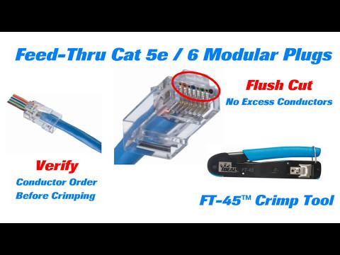 IDEAL FT-45 Feed Thru-Modular Plug Crimp Tool Long