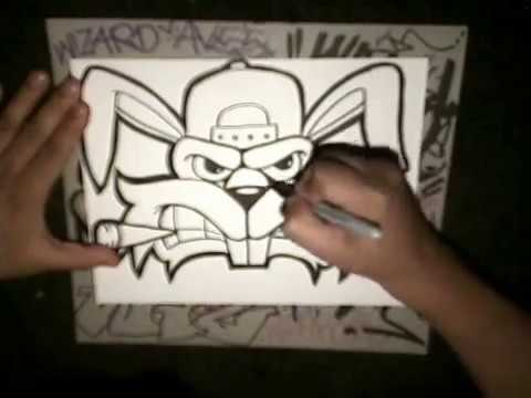 How to Draw A Crazy Rabbit graffiti character by WIZARD.wmv