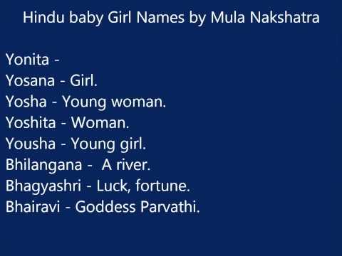 Hindu baby girl names according to Mula nakshatra