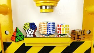 Hydraulic Press VS Rubik Cubes! V-cube, Pyraminx, Megaminx, Mirror Cube, Golden Cube