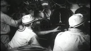 Lockout emergency on Japanese submarine for diving underwater. HD Stock Footage