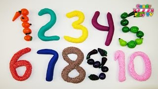 Learn To Count With Play Doh Fruits And Vegetables Squishy Glitter Foam | Learning Numbers 1 to 10