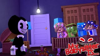 MY BABYSITTER IS ..... BENDY AND THE INK MACHINE !!! Minecraft w/ Little Kelly Tiny Turtle Sharky